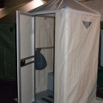 Portable Toilet with Hinged and Latched Door